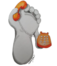 Lifelike white foot drawing with arms holding an orange old style telephone in one arm and the receiver in the other up to its big toe as though its making a call.