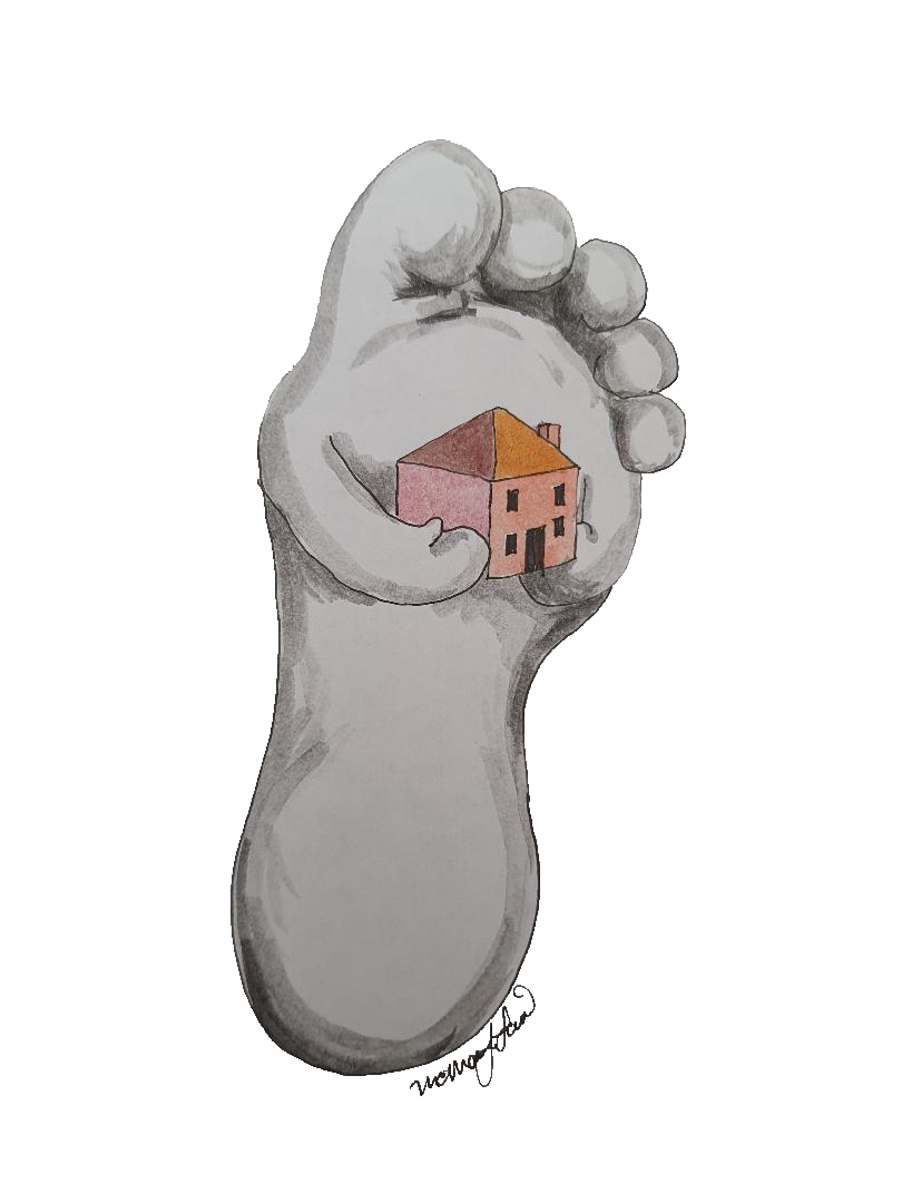 Lifelike white foot drawing with arms carrying small red roofed house.