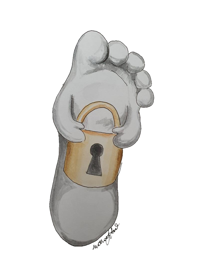 Lifelike white foot drawing with arms carrying a gold padlock.