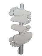 Lifelike white feet drawing attached to a grey post to look like an old fashioned signpost.